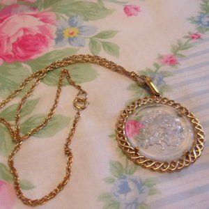Trifari Glass Zodiac Pendant Necklace Aries Ram